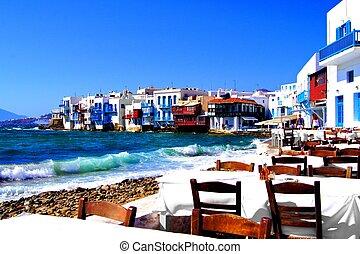 Beautiful Mykonos - Colorful Little Venice neighborhood of...
