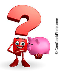 Question Mark character with piggy bank - Cartoon Character...