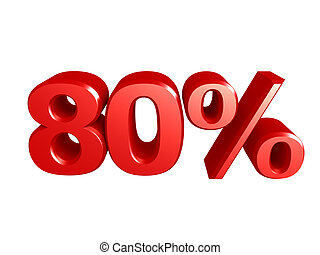 80 percent icon - The number 80 and the percent icon