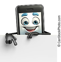 Mobile character with sign - Cartoon Character of Mobile...
