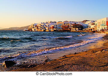 Mykonos sunset - Sunset view of the Little Venice...