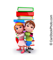 Cute kids with books - Illustration of cute kids with books