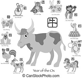 Chinese New Year Ox with Twelve Zodiacs Illustration -...