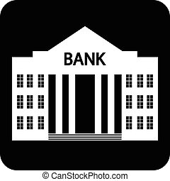 Bank symbol button on white background Vector illustration
