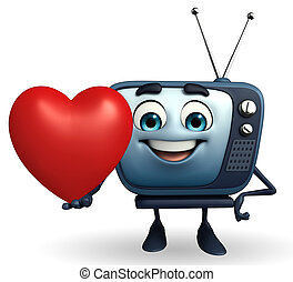 TV character with red heart
