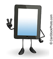 Tab Character with victory sign - Cartoon character of tab...