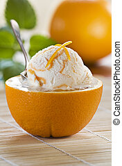 Ice cream - Fresh orange ice cream close up shoot