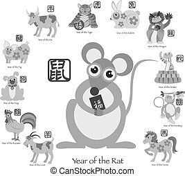 Chinese New Year Rat with Twelve Zodiacs Illustration -...
