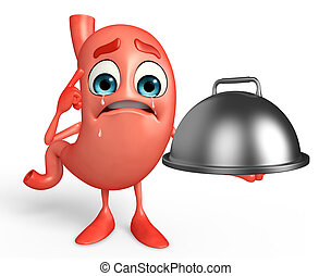 Cartoon Character of stomach with dish pan