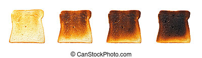 Before and after - Slices of toast bread before and after,...