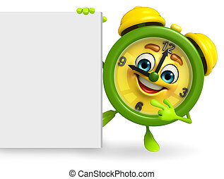 Table clock character with sign - Cartoon Character of table...