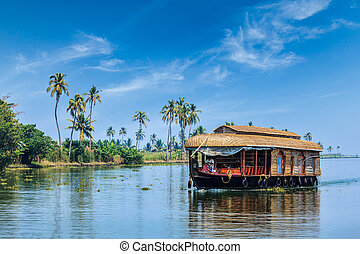 Houseboat on Kerala backwaters, India - Travel tourism...