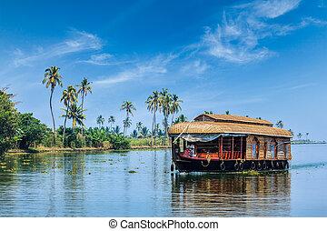 Houseboat on Kerala backwaters, India - Travel tourism...