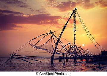 Chinese fishnets on sunset Kochi, Kerala, India - Vintage...