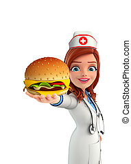 Nurse Character with burger - Cartoon Character of Nurse...