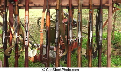 Military warehouse rifles. WWI. - Military warehouse rifles....