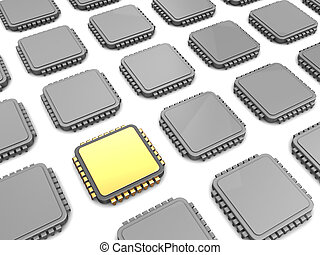 main chip - 3d illustration of gloden chip and many others