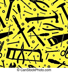 Construction tools. Seamless vector background. Template for design.