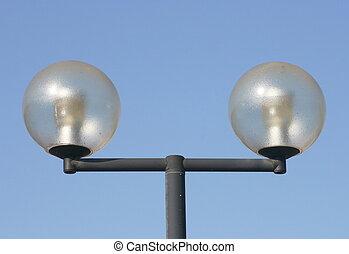 two-beam street lamps - a two-beam street lamps with large,...
