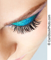 Female eye zone makeup - Close-up shot of young beautiful...