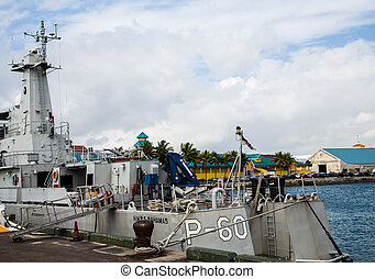 Military PT Boat at Bahamas Dock - Grey PT Boat Docked in...