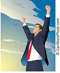 Businessman Wins - Business man with his arms raised in...