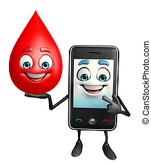 Mobile character with blood drop - Cartoon Character of...