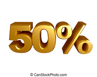 50 percent icon - The number 50 and the percent icon