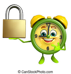 Table clock character with lock - Cartoon Character of table...