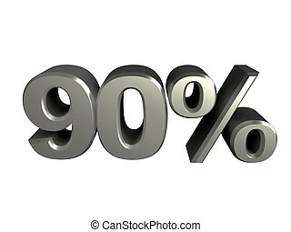 90 percent icon - The number 90 and the percent icon