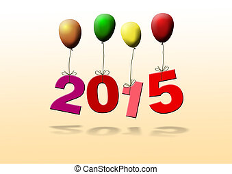 new year 2015 with balloons