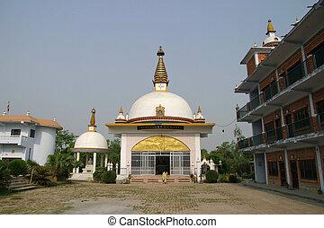 Nepal nunnery temple in Lumbini, Nepal