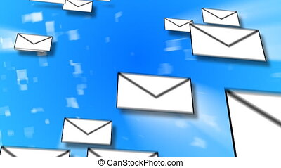E-Mail Concept Animation with many letters travelling...