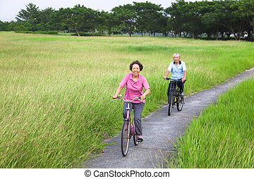 Happy asian seniors couple biking in the park
