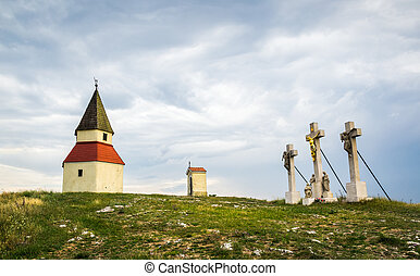 Calvary, Nitra, Slovakia - Small Church, Chapel and Three...