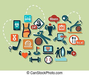 flat sport icons set - Fitness and Sport vector icons for...