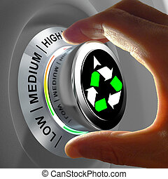 Concept of a button adjusting and maximizing the recycling -...