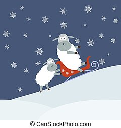 Sheep sledding Christmas theme Vector illustration