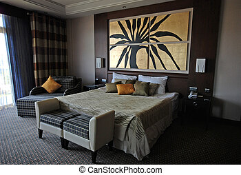 Hotel bedroom - Beautiful hotel bedroom interior in Luxury...