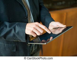 tavoletta, schermo, moderno, mano,  PC, Toccante, digitale, uomo