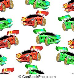 sports car - seamless vector pattern sports car illustration...
