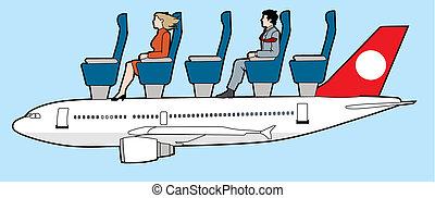 avión, pasajeros