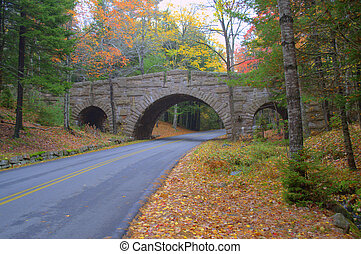 stanley brook bridge, arcadia national park maine usa
