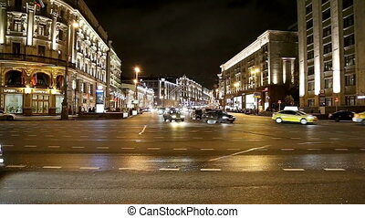 Traffic of cars in Moscow city center Tverskaya Street near...