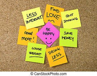 New year Resolutions Post it notes - Group of New year...