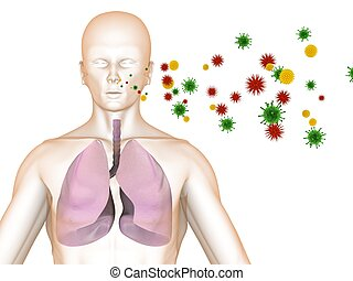 infection - 3d rendered illustration of a body shape with...