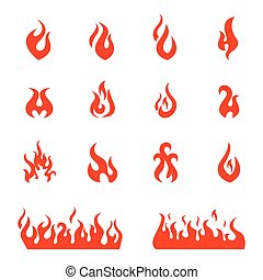 Fire flames, set icons, vector illustration - Red fire flat...