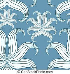 Seamless abstract floral pattern. Vector illustration. Blue...