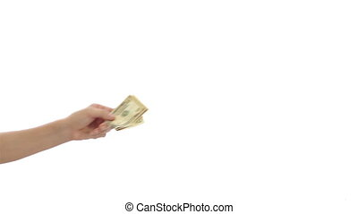 Hesitant Taking Money Exchange - A hand isolated on a white...