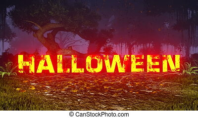 Glowing Happy Halloween text in the - Realistic 3D animation...